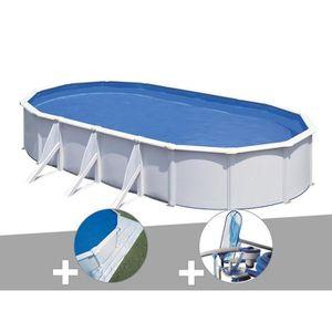 PISCINE Kit piscine acier blanc Gré Fidji ovale 5,27 x 3,2