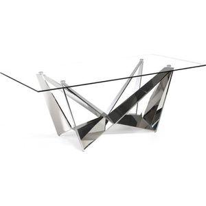 TABLE À MANGER SEULE Table de repas rectangulaire Verre/Inox - NOGU - L