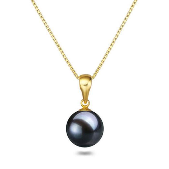 Chaine De Cou Vendue Seule ODZXR d'eau douce Pendentif de perles de culture japonaise noire Aaaa des femmes de 16 « - 18 » Solitair