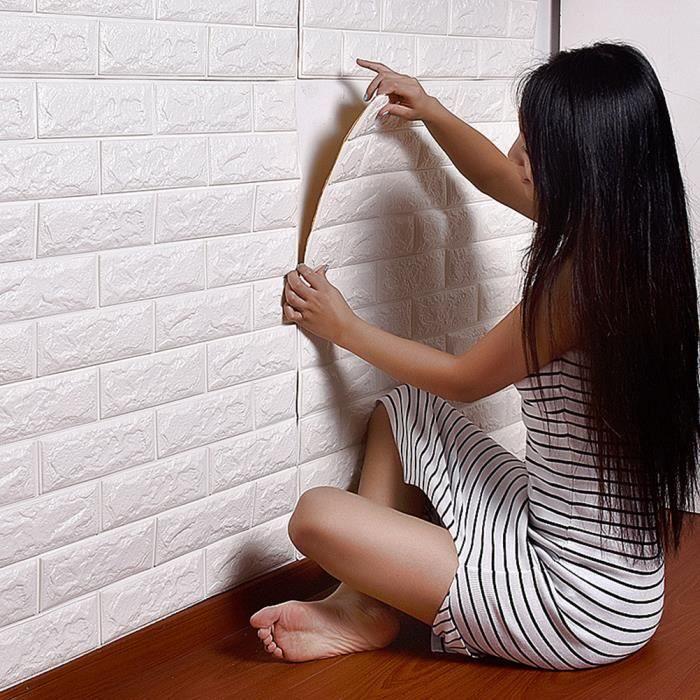 3D Stickers muraux en brique auto-adhésifs panneau autocollant papier peint Décor mural canapé (blanc) - 70x77cm