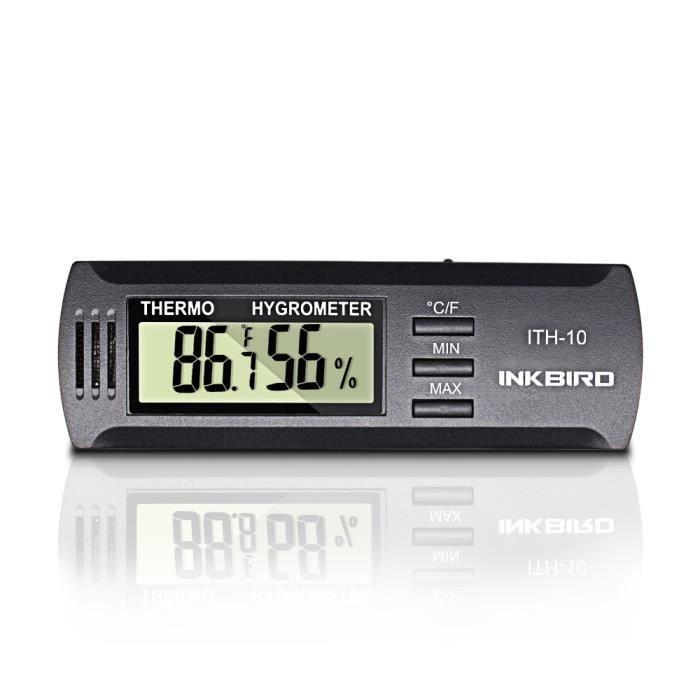 Thermometre Numerique Interieur, Moniteur Temperature Humidite Digital Hygrometre Cave a Vin, Inkbird ITH-10 Ecran LCD pour Frigo