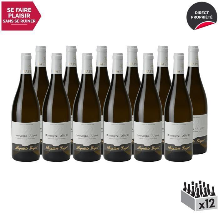 Bourgogne Aligoté Blanc 2018 - Lot de 12x75cl - Domaine Baptiste Guyot - Vin AOC Blanc de Bourgogne - Cépage Aligoté