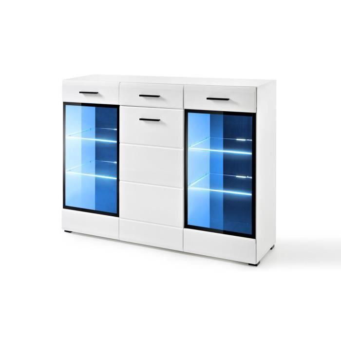 Extreme Furniture Buffet Lauren HB - LED bleues - Blanc Brillant & Blanc - Façades en Brillant - L150cm x H112cm x P41cm
