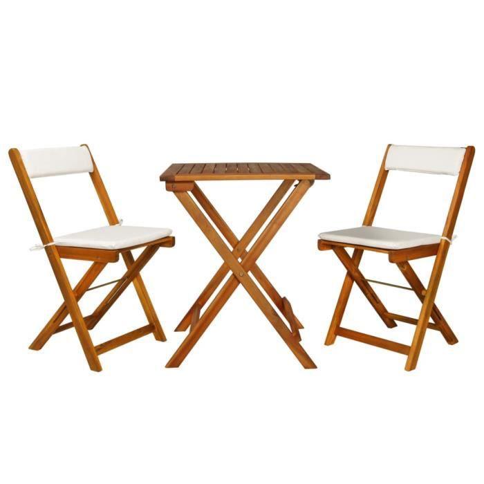 ETO 7 pcs Jeu de Bistro - Ensemble de Bistro de Jardin avec Coussins en Bois d'Acacia Massif 1 Table Pliante et 2 Chaises