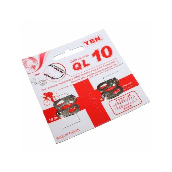 Connecteur de chaine velo 10v. ybn argent (attache rapide) compatible shimano - campagnolo (blister de 2 pieces)