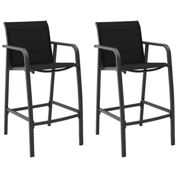 Lot de 2 Tabourets de bar de jardin - Chaises de bar Gris Txtilène