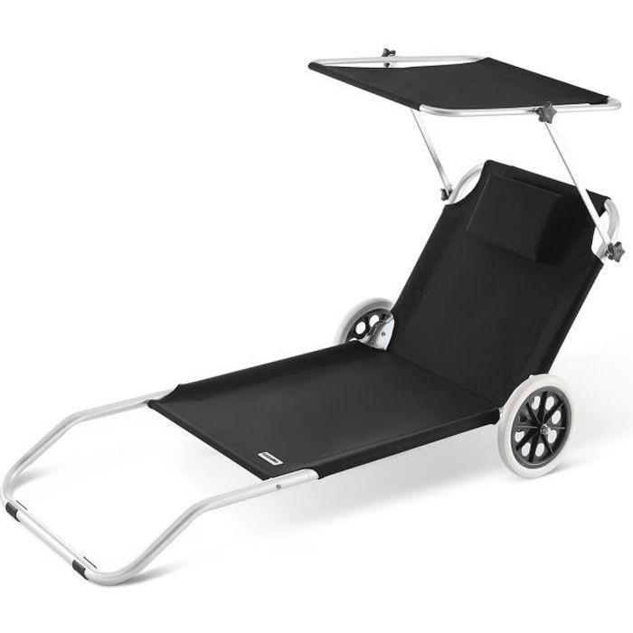 Chaise longue CRÊTE en aluminium pare soleil Noire