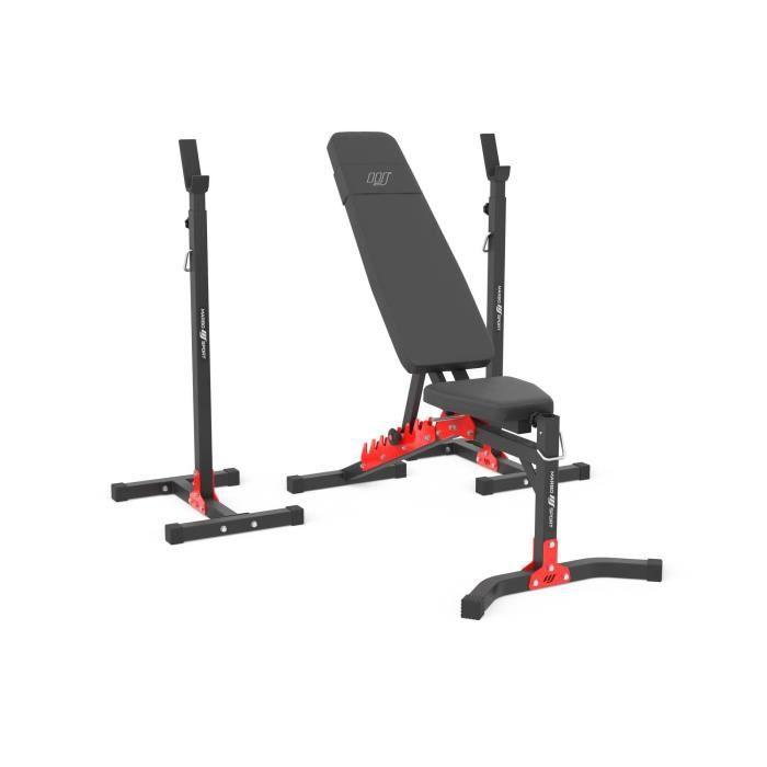 Marbo Sport Set MH19 2.0 - banc de musculation réglable MH-L115 + support de poids réglable en hauteur MH-S201 x2