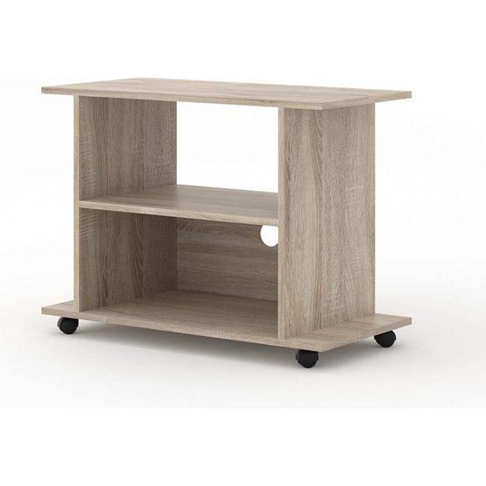 Meuble TV avec roulettes sous main universel Yogi 80 cm salon Hi-Fi commode table