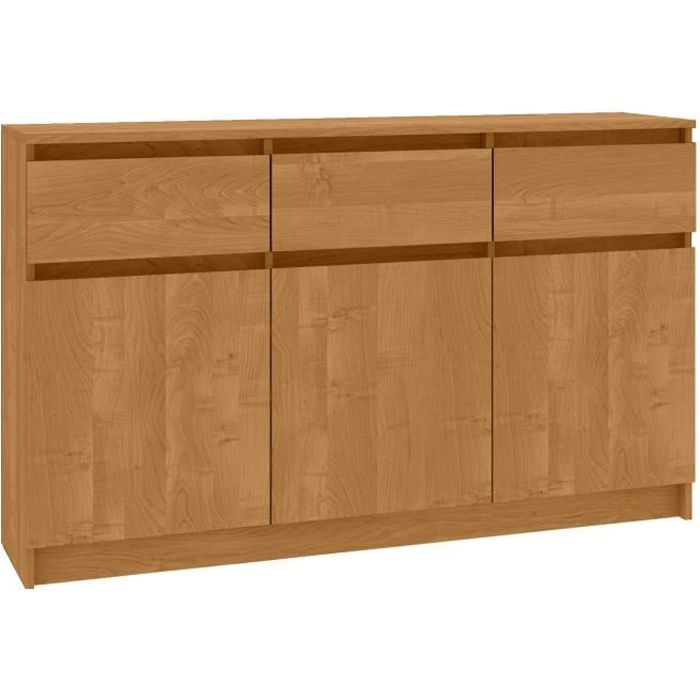 GRACE - Buffet Enfilade moderne salon/séjour 3 tiroirs 3 portes - 138x99x40cm - Commode contemporaine - Meuble de rangement - Aulne
