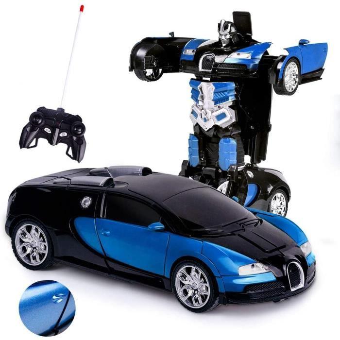 Transformers Voiture télécommandée électrique télécommandée à Grande Vitesse Voiture RC Robots Jouets pour Cadeaux Enfants blue