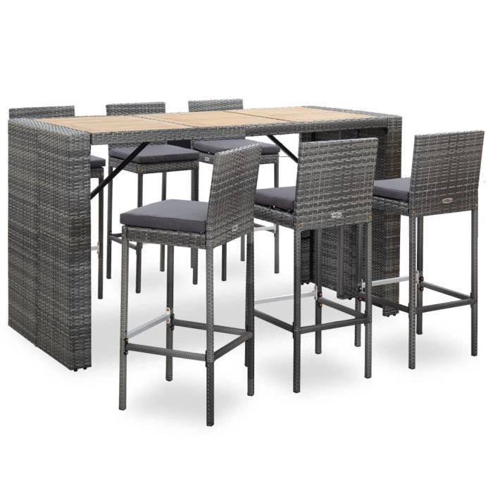 Ensemble table de bar bistrot jardin + 6 tabourets Table Mange-debout Table haute cuisine- et coussins Résine tressée Gris