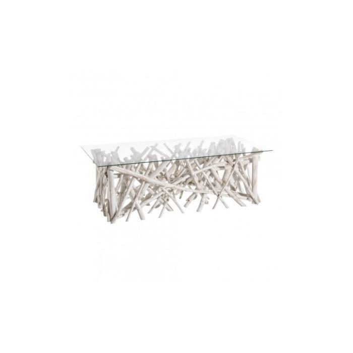 Table basse bois flotté blanc et plateau verre