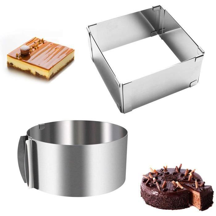 Cercle à Pâtisserie Réglable,2pcs Cadre à gâteau en Acier Inoxydable Rectangulaire + Rond,avec Echelle Ø 16-30cm-6 à 12 inch,pour Fr