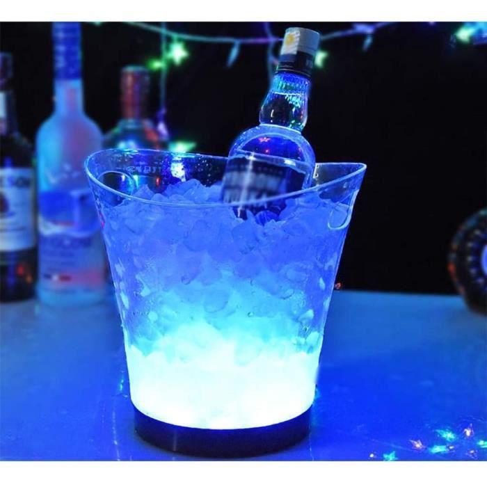 Seau a glacon isotherme Seau à glace à LED 5 litres de seau à glace lumineux Barre à champagne Barre à bière Seau à glace Cham A335