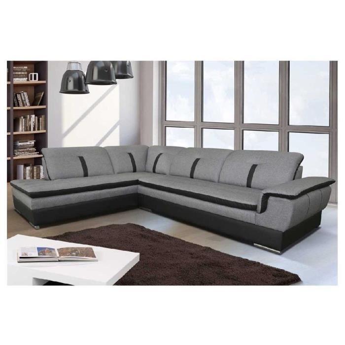 Canapé d'angle convertible Emma - tissu - Angle gauche - gris et noir