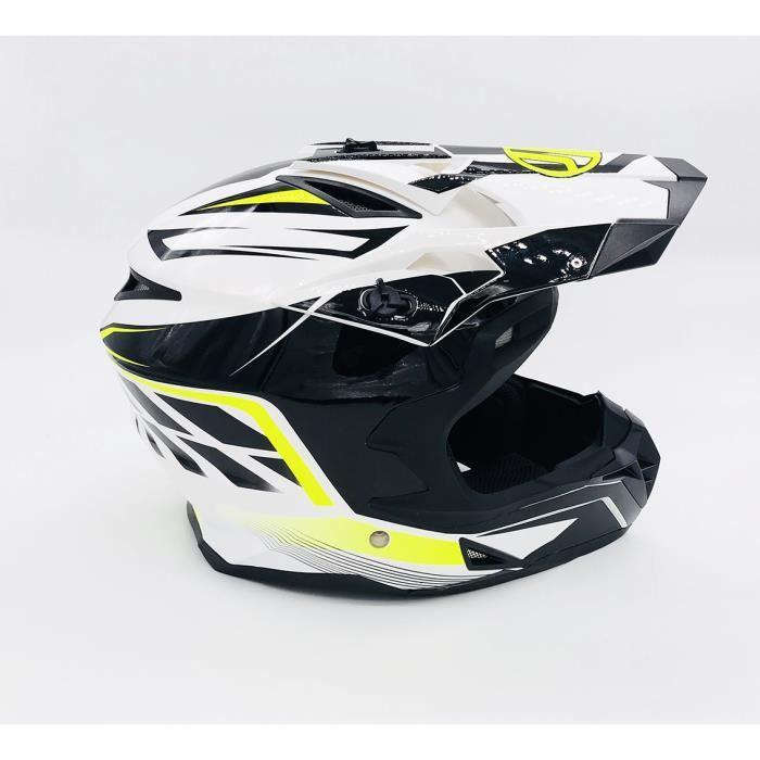 CASQUE MOTO CROSS QUAD VTT BMX JLP RACING BLANC NOIR FLUO