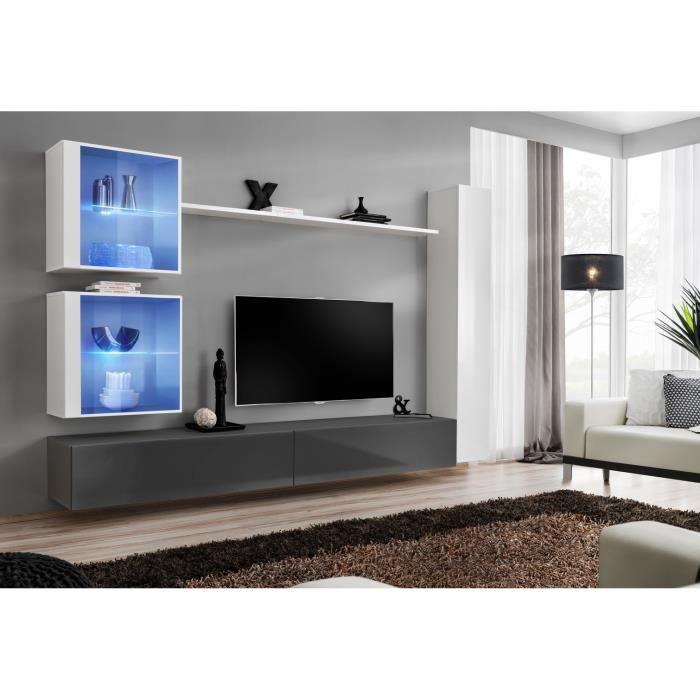 Ensemble meuble salon mural SWITCH XVIII design, coloris gris et blanc brillant. 40 Gris