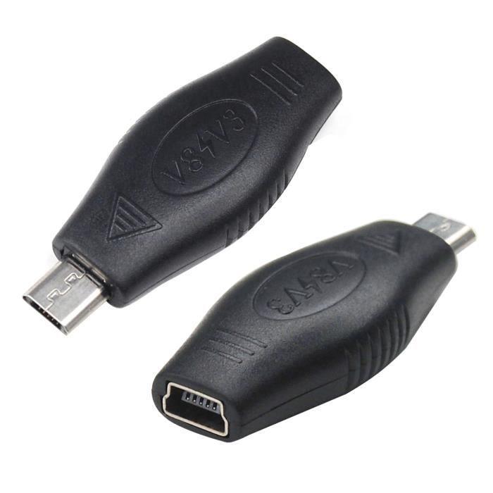 TRIXES Adaptateur convertisseur USB mini A femelle vers micro B mâle pour chargeur