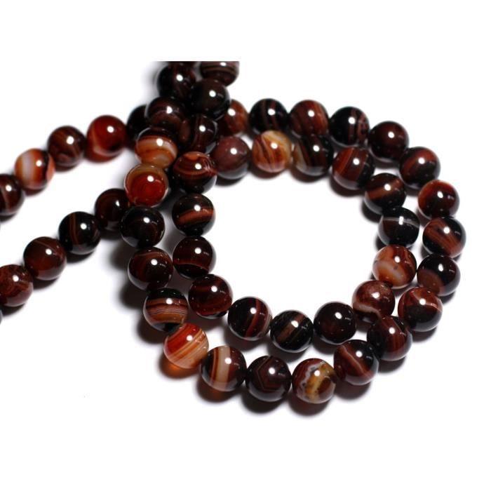 5pc Agate rouge et noire Boules 10mm 8741140000575 Perles de Pierre