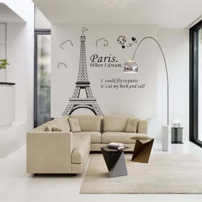 Romantique Paris Tour Eiffel Belle Vue de France DIY Stickers