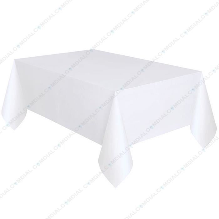 Nappe de table rectangulaire blanc achat vente protege for 2 sous de table