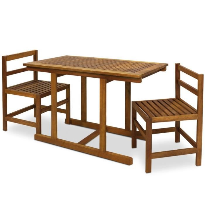 Ensemble table et 2 chaises en bois achat vente salon for Ensemble table et chaise rotin