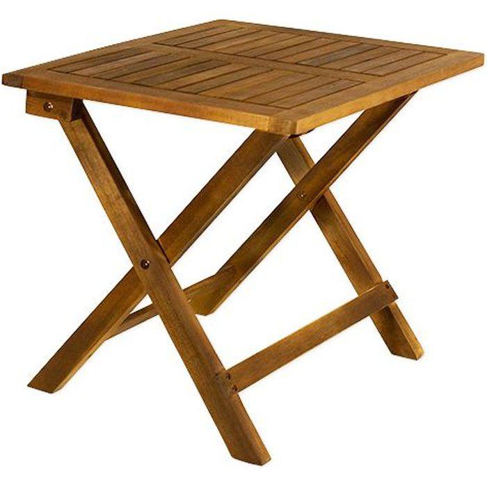 Table basse pliante en bois - Tables jardin d\'appoint - 46x46cm brun -  Acacia
