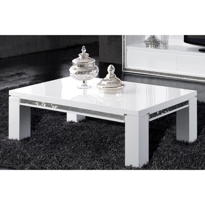 Table basse ultra design blanc laqu avec strass achat for Table ultra basse