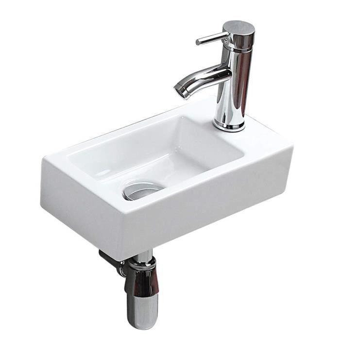 Mini lavabo de salle de bain rectangulaire et compact à suspendre au mur -  Style moderne et élégant - Lavabo en céramique blanc