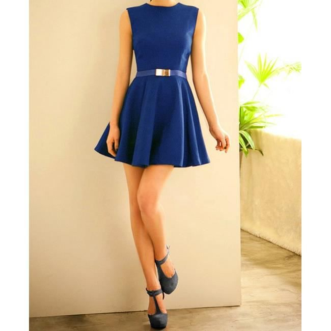 Robe Patineuse Avec Ceinture Assortie Bleu Bleu Achat Vente Robe 6110541538628 Bientot Le Black Friday Cdiscount