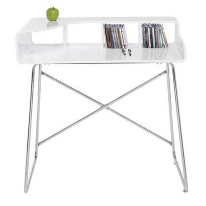 petit bureau studio laqu blanc brillant pieds achat. Black Bedroom Furniture Sets. Home Design Ideas
