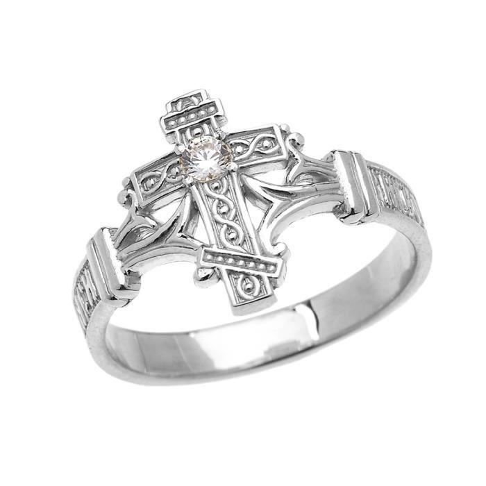 Petits Merveilles Damour Bague Homme Argent Fin 925//1000 Diamant Coupe Crucifix
