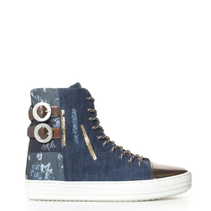 Baskets bleues jean Denim Patch Reggae