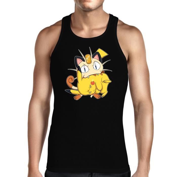T-SHIRT MAILLOT DE SPORT Débardeur Noir Pokémon parodique Pikachu et Miaous