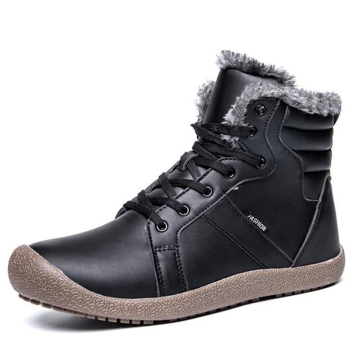 Bottes homme chaussures hiver chaudes fourrure antidérapage fermé avec lacet confortable et classique 39 48 Noir