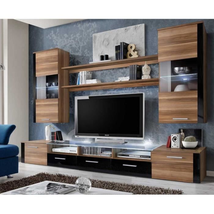paris prix meuble tv mural design fresh 250cm brun noir marron achat vente meuble tv. Black Bedroom Furniture Sets. Home Design Ideas