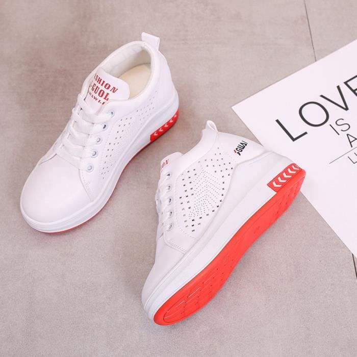 Femme Baskets Compensées Chaussure Plate-forme Sneakers Running Chaussures de Course Fitness Cuir Lacets Rouge