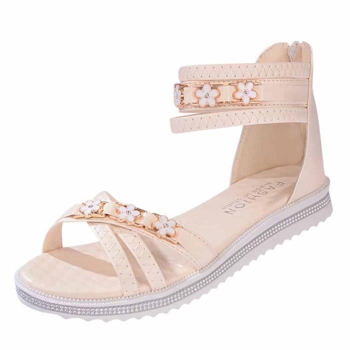 Femmes Chaussures plates en cuir souple d'été Loisirs Lady Sandales Peep-Toe Shoes Roman Beige