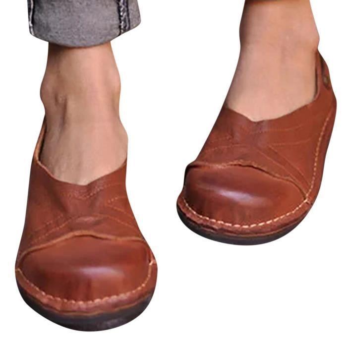 Femmes Mode Flats à bout rond talons bas sandales romaines chaussures unique Peas marron