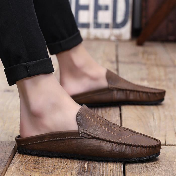 hommes mocassins en cuir Style britannique hommes chaussures décontractées paresseux chaussures plates plus de taille
