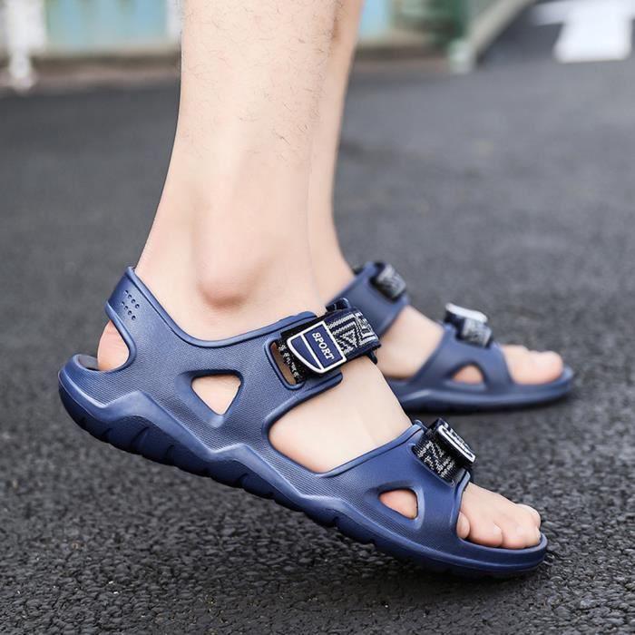 Été en plein air Hommes Flats Plage Casual Chaussures Sandales Respirant Sport Bleu