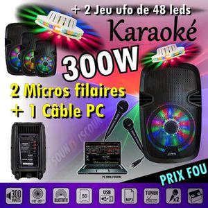PACK SONO SONO ENCEINTE 300w PORTABLE KARAOKÉ USB BLUETOOTH