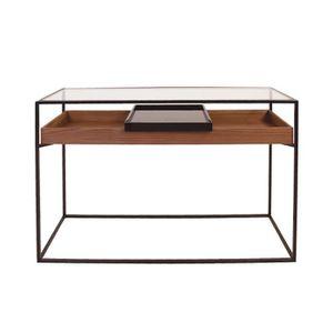 CONSOLE Console 120cm en verre trempé bois et métal - ASPE
