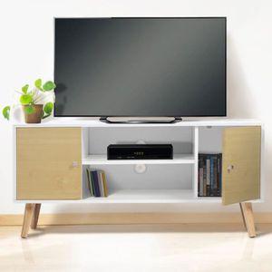 MEUBLE TV Meuble TV EFFIE scandinave bois blanc et imitation