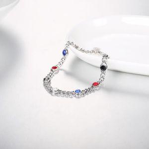 Fashion Infinity Plaqué Or Blanc Topaze Gemme Charme Bangle Bracelet Chaîne