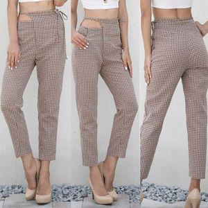 pantalon femme a carreaux