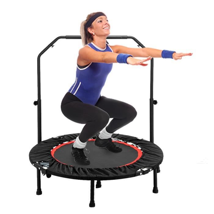 Trampoline Fitness Pliable,Exterieur-Interieur Ø102 cm avec Poignée Réglable pour Enfantset Adultes Capacité de Charge 135 kg Noir