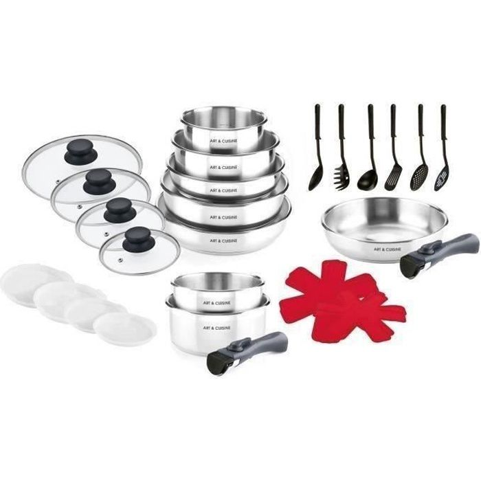 ART & CUISINE AC24BPS - Batterie de cuisine 28 pièces - Tous feux dont induction - Inox