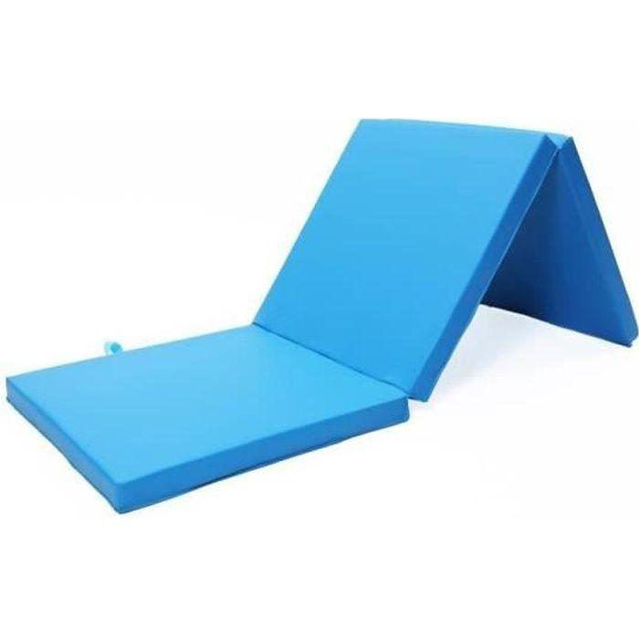 Fasike-Tapis de Sol pour Gymnastique Epais/Tapis de Yoga-Pliable 180*60*5cm Bleu clair